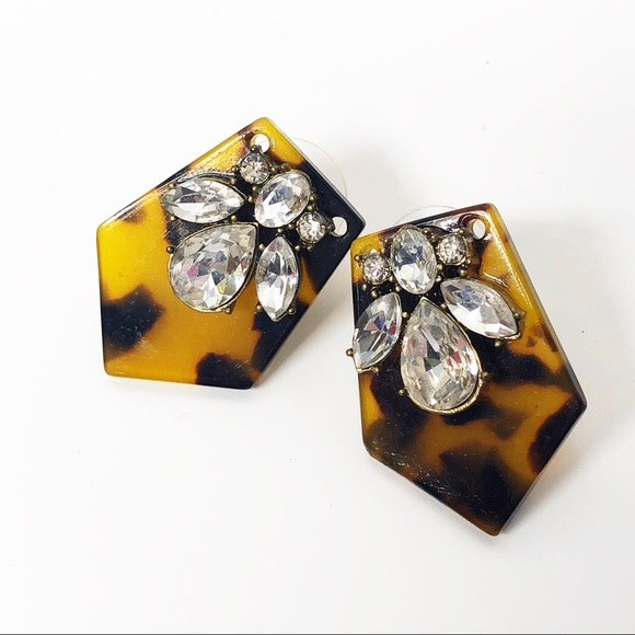 Sparkly Bits Jewelry - Upcycled J. Crew Tortoise Shell & Crystal Earrings